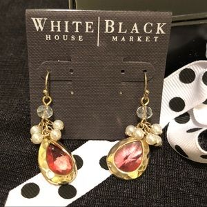 White House Black Market coral & pearl earrings